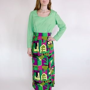 Vintage 60s Abstract Print Neon Slit Maxi Dress